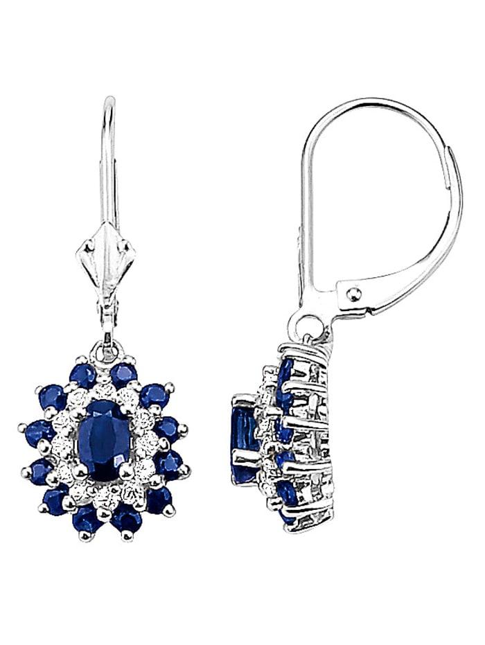 Diemer Farbstein Ohrringe mit Saphiren, Blau