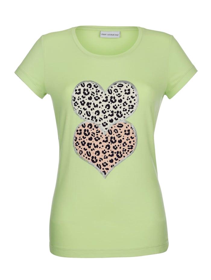Shirt met decoratieve hartprint