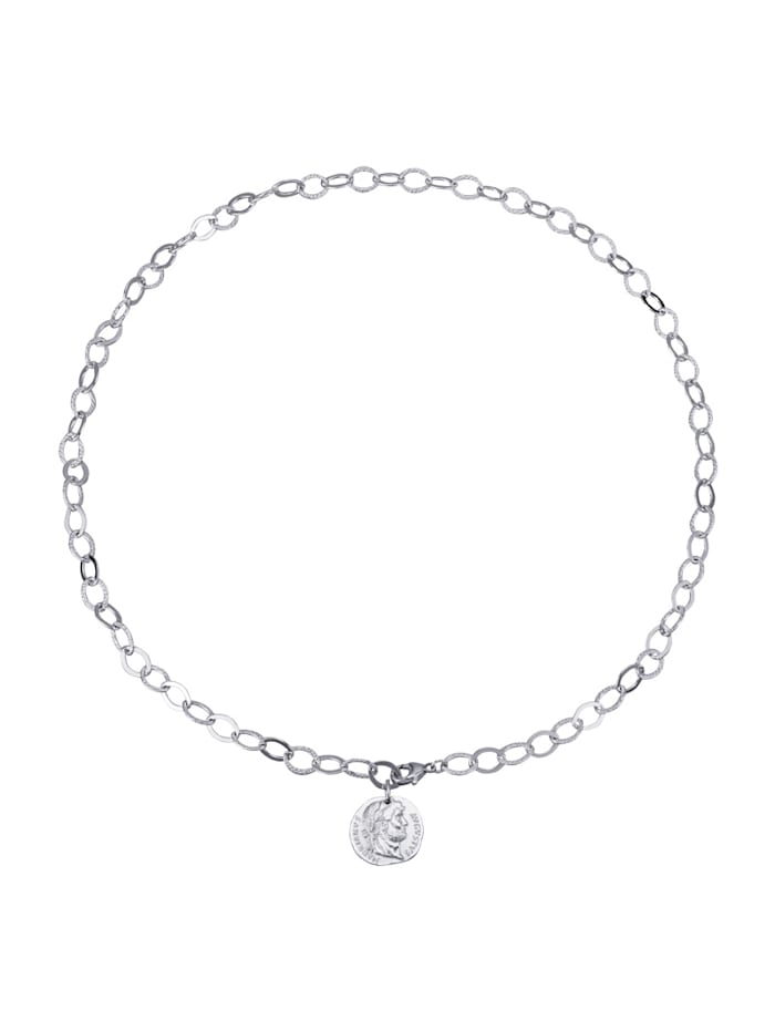 Diemer Trend Collier mit Münze, Silberfarben