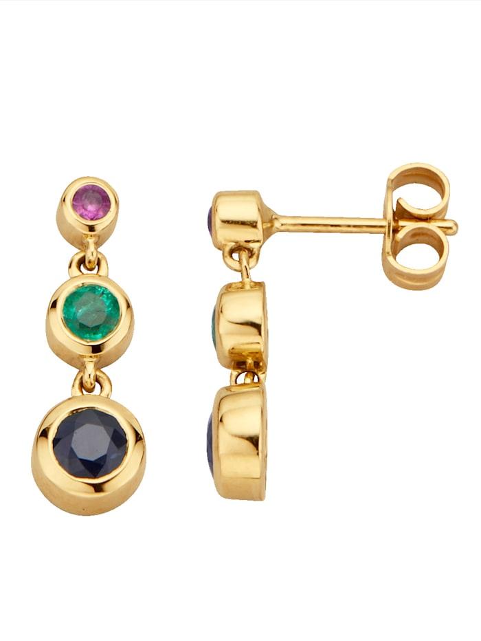 Diemer Farbstein Ohrringe mit Rubinen, Saphiren und Smaragden, Multicolor