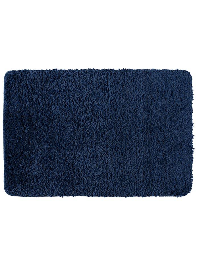 Wenko Badteppich Belize Marine Blue, 60 x 90 cm, 60 x 90 cm, Mikrofaser, Polyester/Mikrofaser: Blau