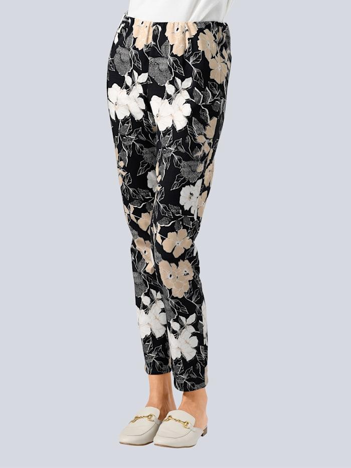 Alba Moda Hose mit Allover Blütenprint, Schwarz/Sand/Weiß
