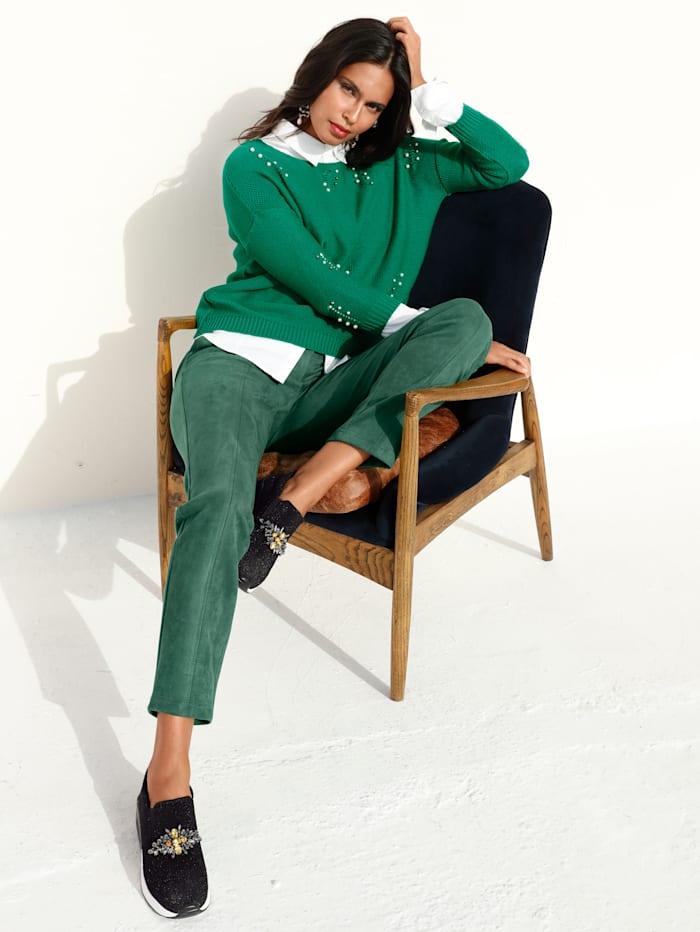 AMY VERMONT Pullover mit Perlendekoration, Grün