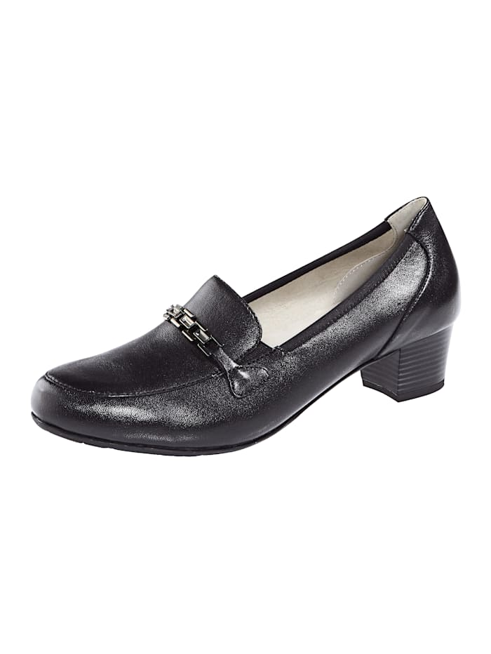 MONA Court shoes made from premium leather, Black