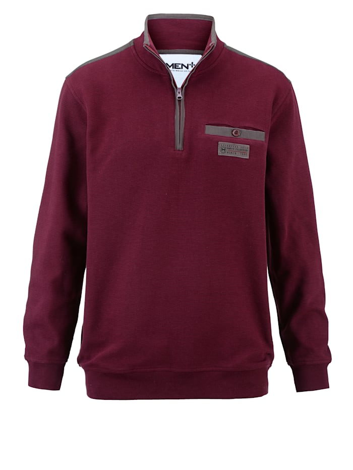 Men Plus Sweatshirt med extra plats för magen, Bordeaux