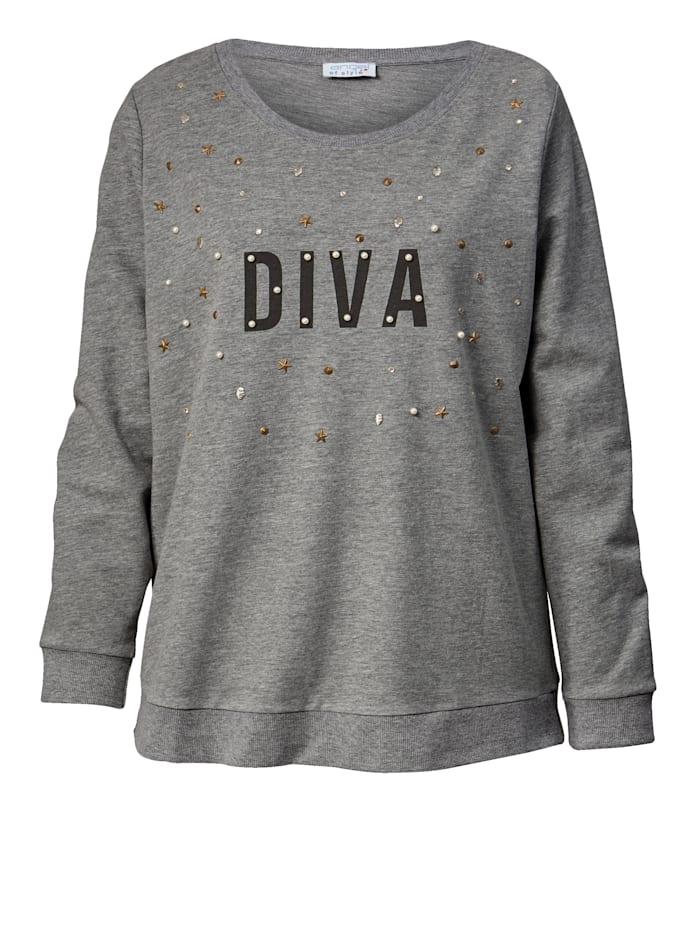 Sweatshirt mit Strass und Perlen
