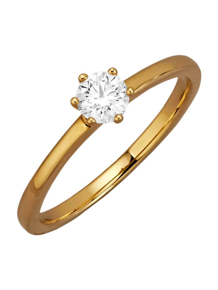 Diemer Solitär Ring met loepzuivere briljant, Geelgoudkleur