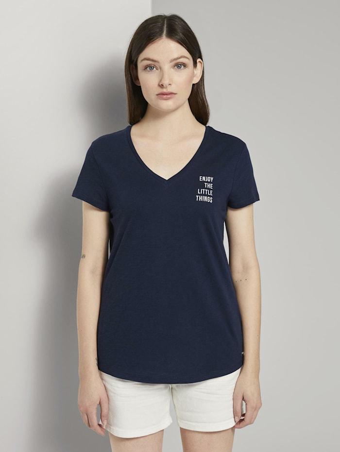 Tom Tailor Denim T-Shirt mit kleinem Print, Real Navy Blue