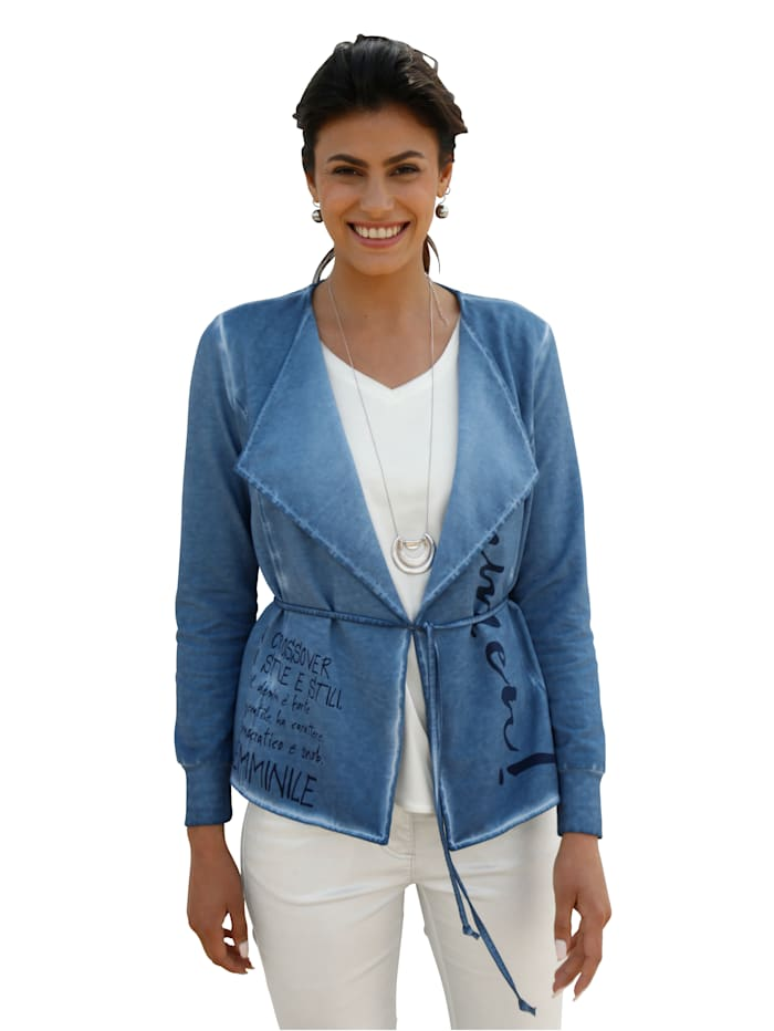 AMY VERMONT Sweatvest in oil dyed stijl, Jeansblauw