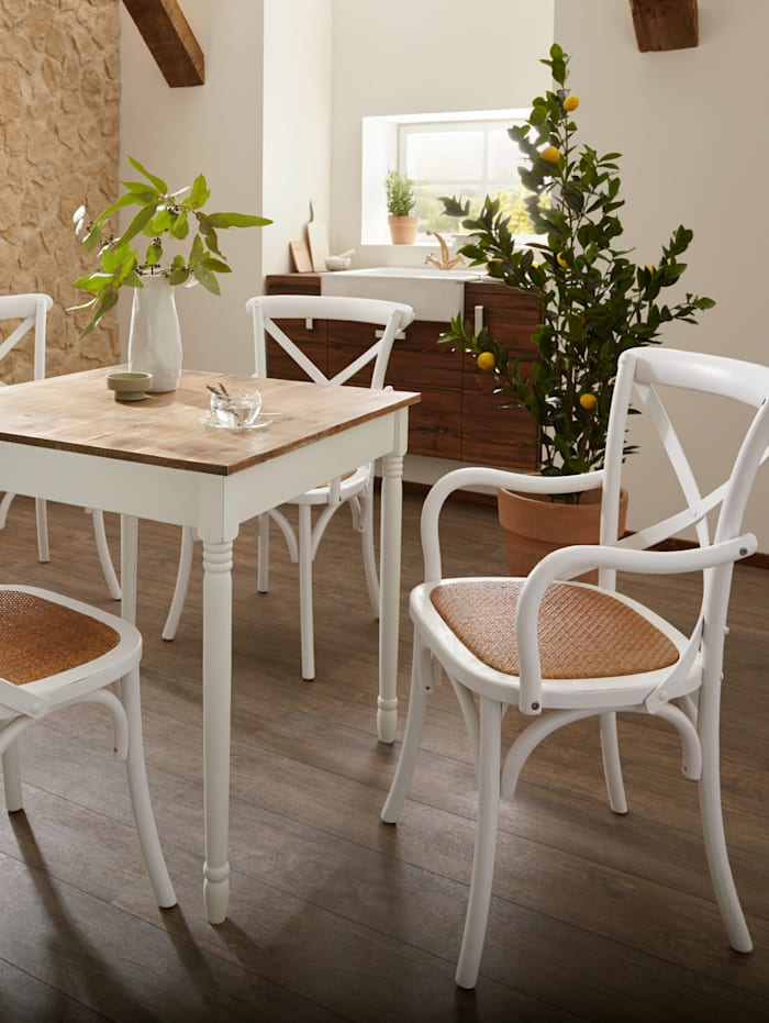 My Flair 2er Set Holzstühle, Weiß