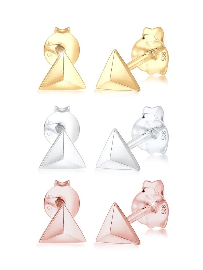 Elli Ohrringe 3Er Set Dreieck Geo Tricolor Minimal 925 Silber, Bunt