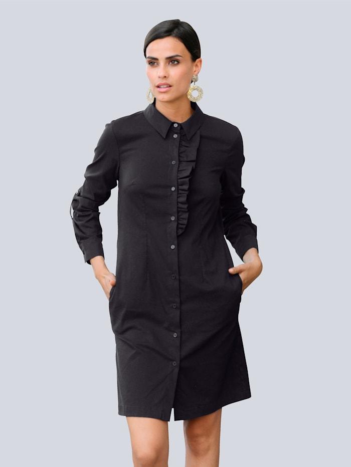 Alba Moda Kleid mit effektvoller Rüschenverarbeitung im Vorderteil, Schwarz