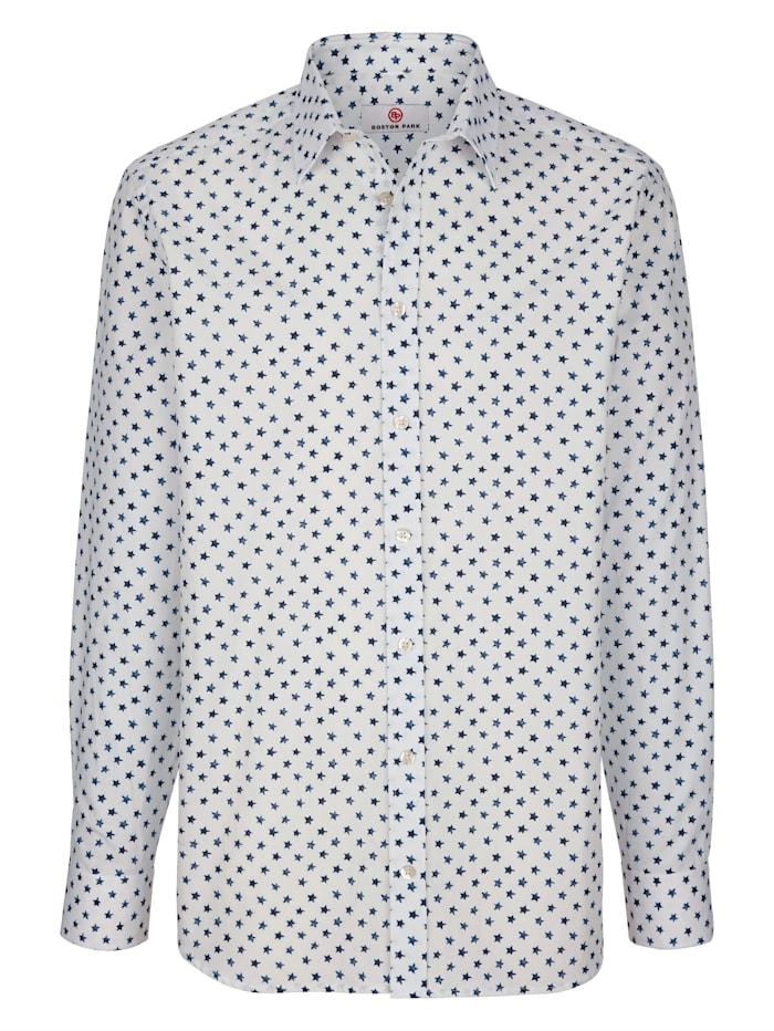 Boston Park Skjorta med stjärnmönster, Benvit/Blå