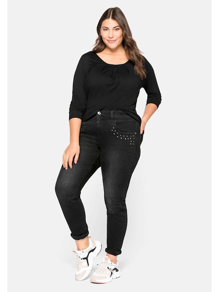 Sheego Jeans mit Nieten-Applikation, black Denim
