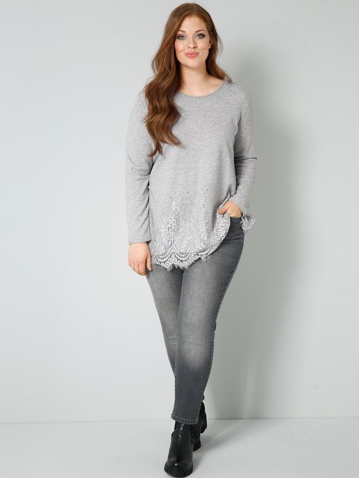 Pullover mit elastischer Spitze am Saum
