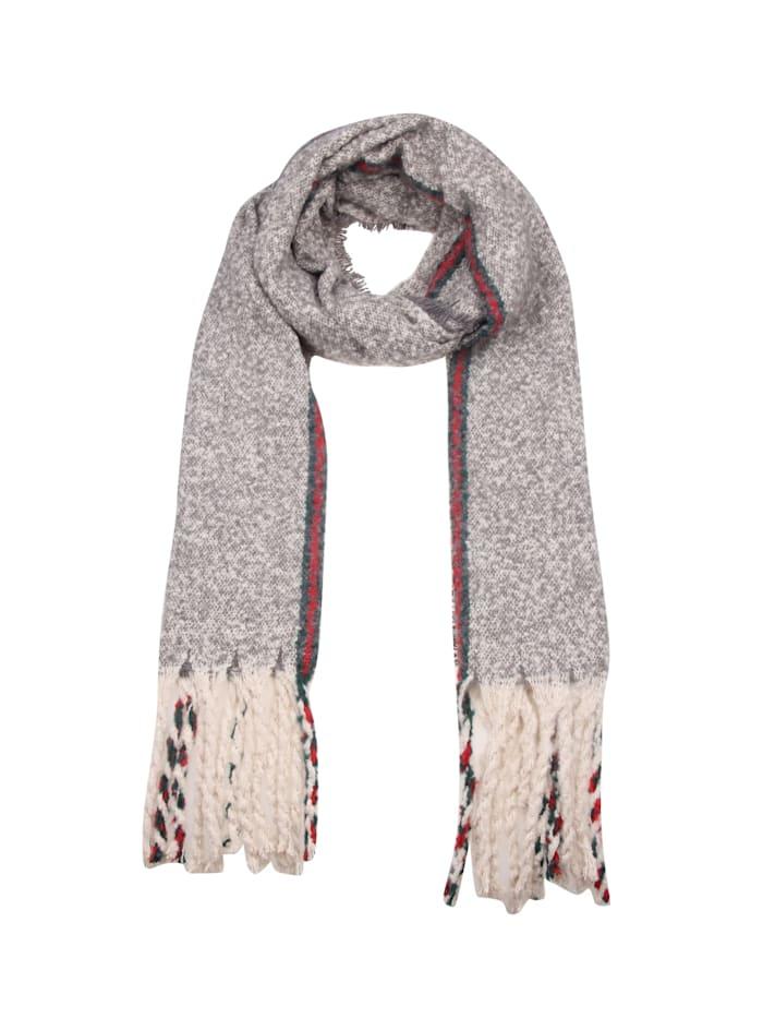 Leslii Schal mit modischen Fransen, grau-rot