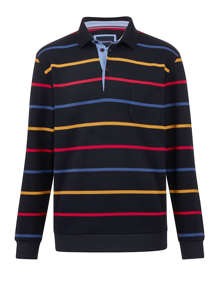 BABISTA Sweat-shirt à motif rayé tissé teint, Marine/Multicolore