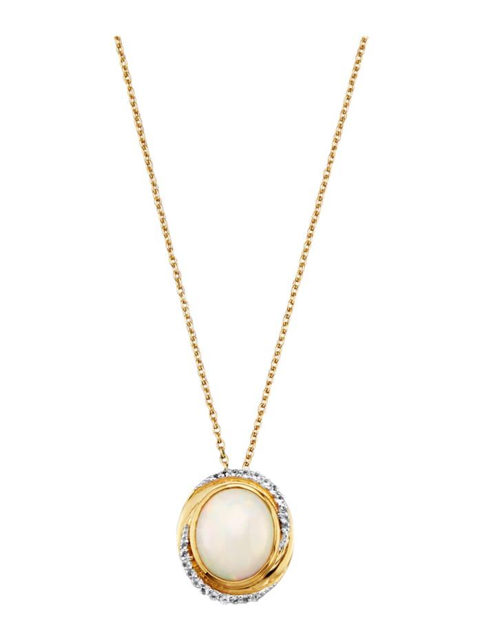 Pendentif + chaîne avec opale et topazes blanches, Blanc