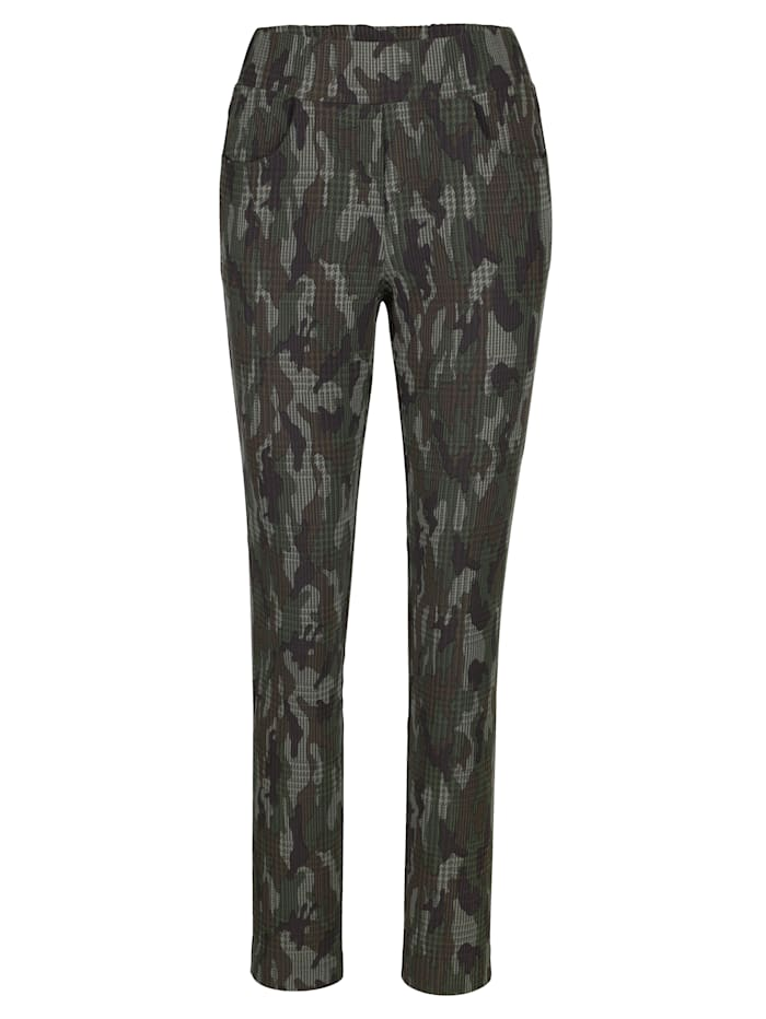 Pull-on trousers in a camouflage pattern
