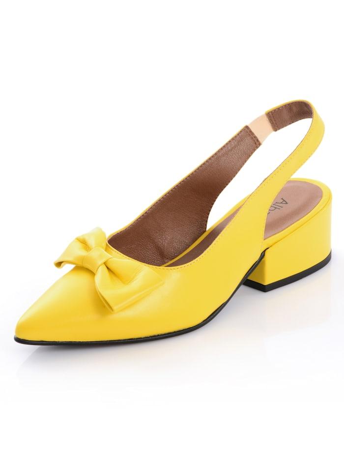 Alba Moda Slingpumps aus hochwertigem Ziegenleder, Gelb