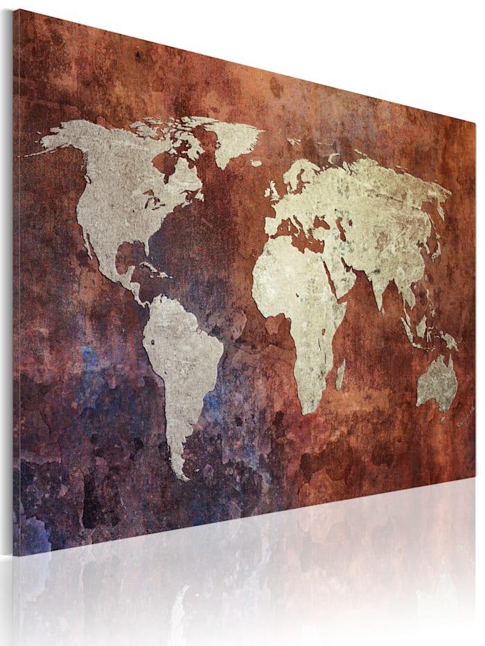 artgeist Wandbild Rostfarbene Weltkarte, Dunkelblau,Grau,Braun