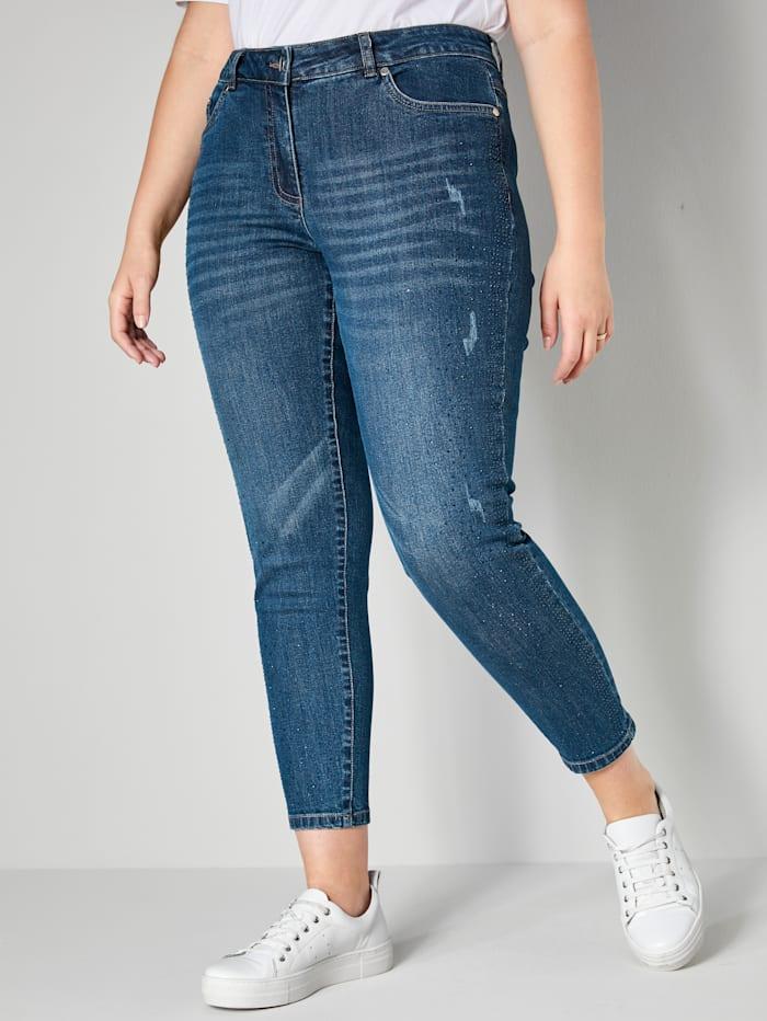 Sara Lindholm Jeans met strasdecoratie opzij, Blue stone