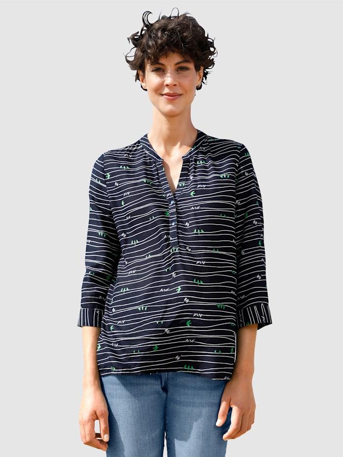 Dress In Bluse mit Knöpfen, Marineblau