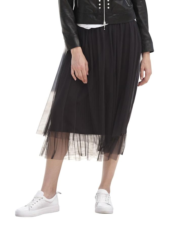 Alba Moda Jupe à l'aspect superposé, Noir