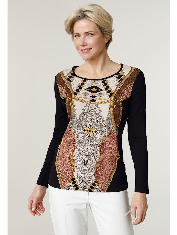 MONA Shirt in angenehmer Viskose- Mischung, Schwarz/Cognac/Beige