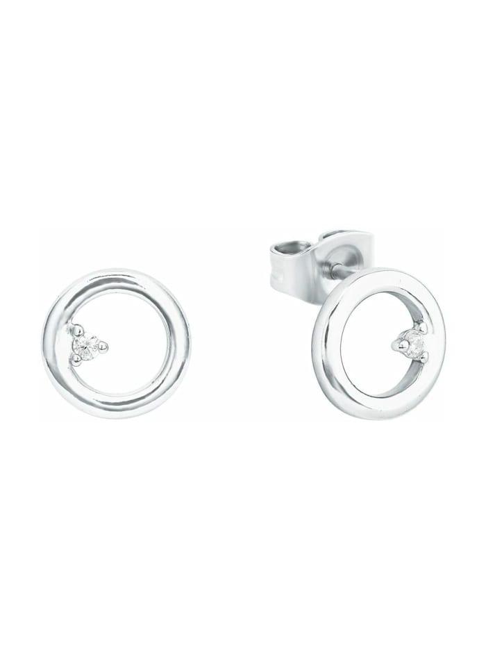 amor Ohrstecker für Damen, glänzendes Silber 925, Zirkonia, Silber