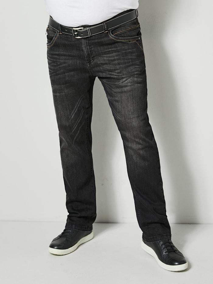 Men Plus Jeans in Straight Fit model, Black