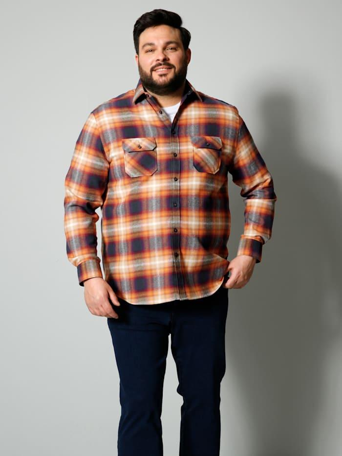 Men Plus Overhemd met speciale pasvorm, Oranje/Marine/Rood