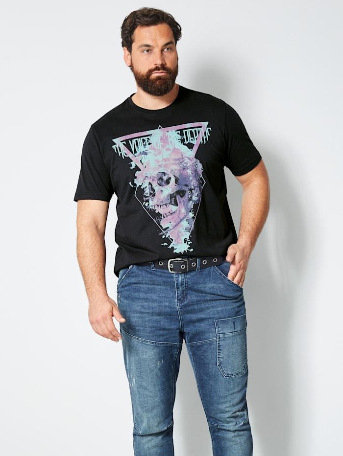 Men Plus T-Shirt aus reiner Baumwolle, Schwarz