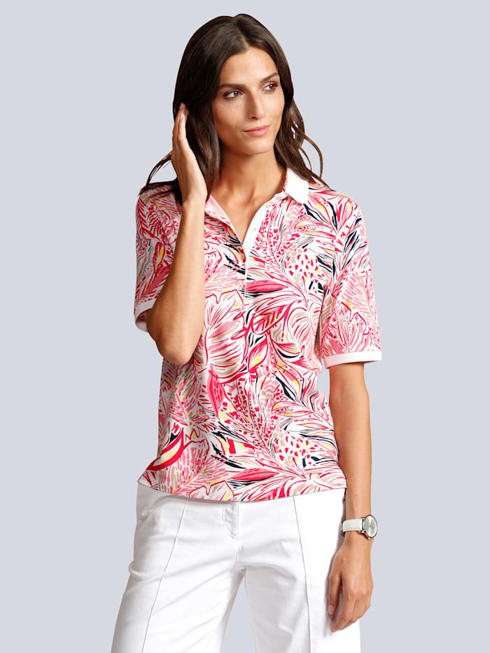 BRAX Poloshirt allover im farbenfrohen  Blätterdruck, Off-white/Rot