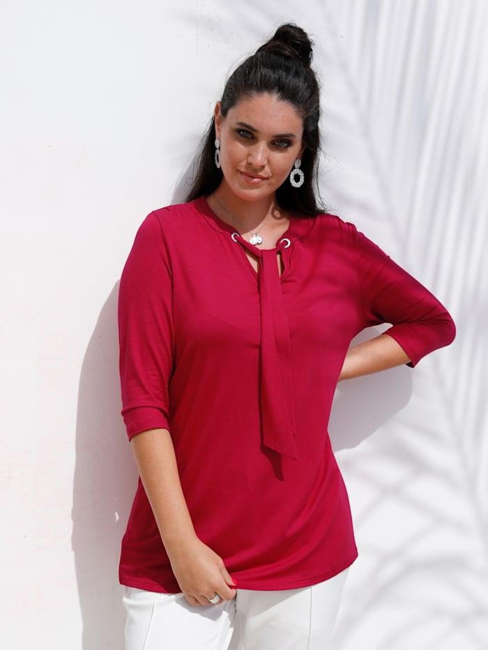 MIAMODA Shirt mit Bindeband am Ausschnitt, Rot