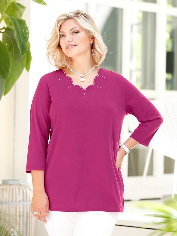 m. collection Shirt mit modischer Ausschnittvariante, Pink