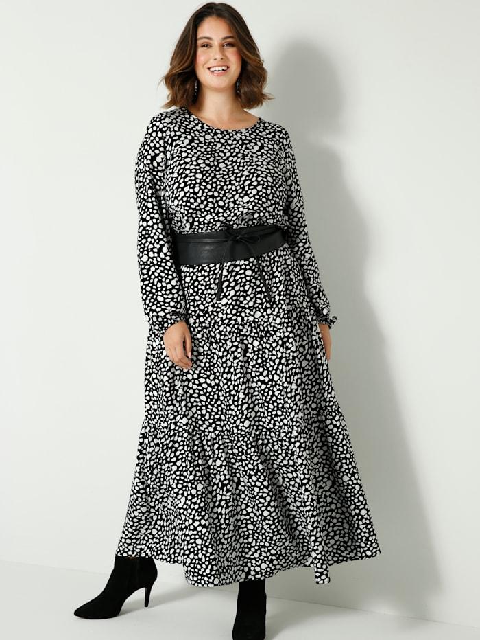 Sara Lindholm Maxi-jurk met elastische taille, Zwart/Wit