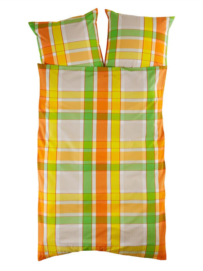 Webschatz Sengesett i 2 deler -Olle-, grønn/oransje