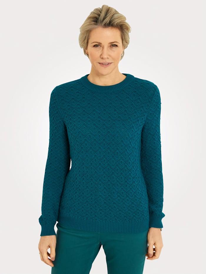 MONA Pullover mit Ajoustrick, Petrol