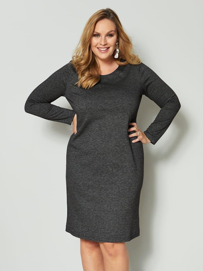 Sara Lindholm Jerseykleid mit Strukturware, Grau