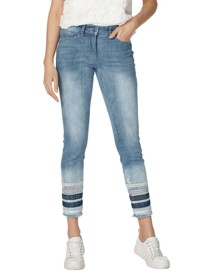 AMY VERMONT Jeans med randiga benslut, Light blue