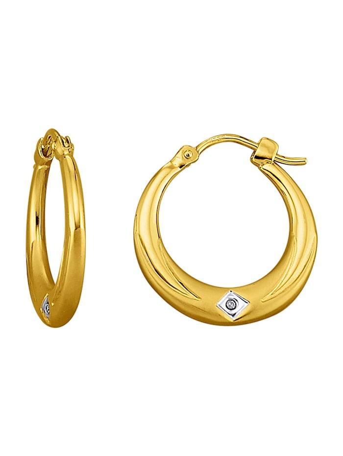 Ohrringe mit Diamanten, Gelbgoldfarben