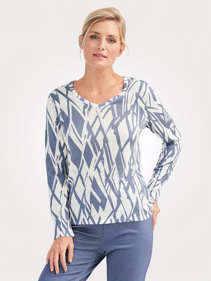 MONA Pullover mit grafischem Druck, Ecru/Blau