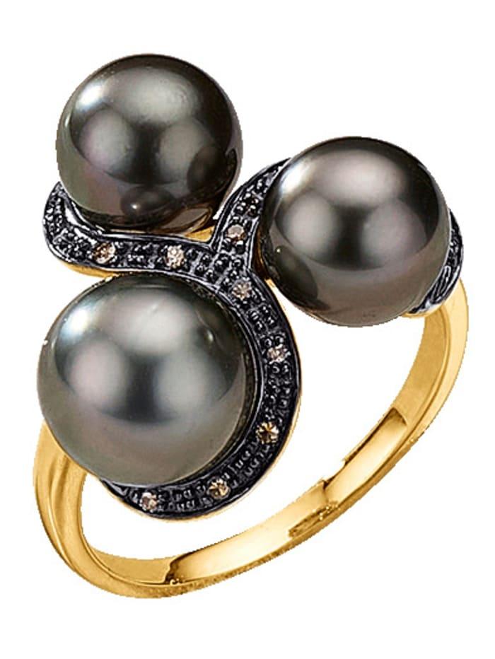 Diemer Perle Damenring mit Tahiti-Zuchtperlen und Diamanten, Grau