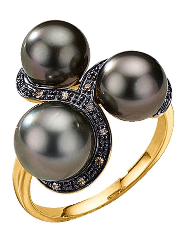 Diemer Perle Damesring Met Tahiti cultivé parels en diamanten, Grijs