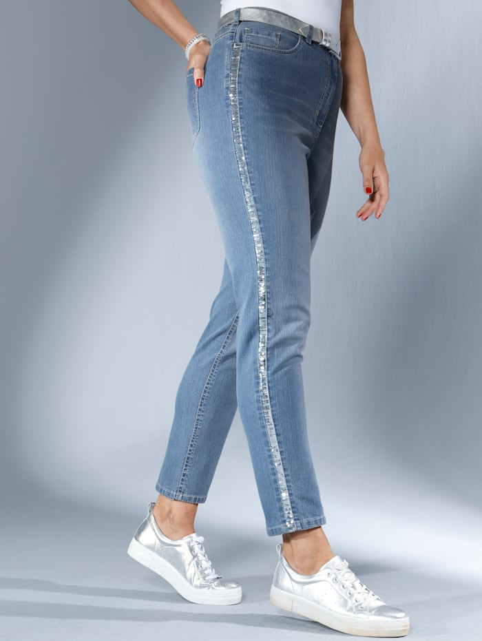 Jeans mit glitzerndem Paillettenband seitlich