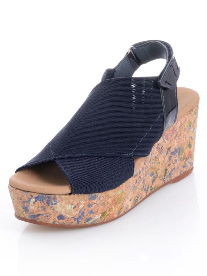 Alba Moda Sandalette mit Muster auf dem Absatz, Marineblau