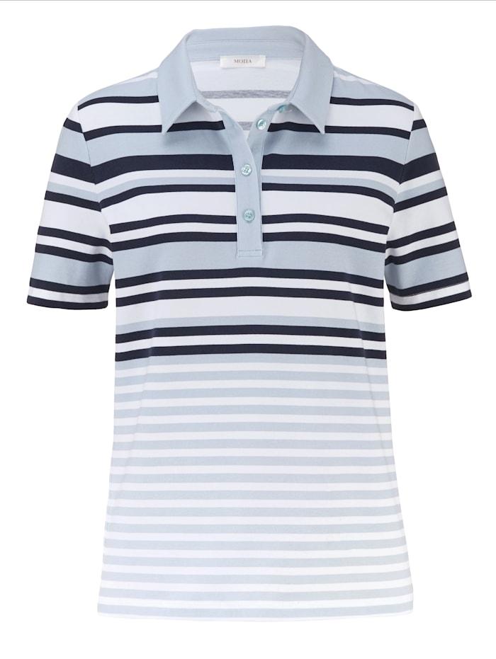 MONA Poloshirt im garngefärbten Ringeldessin, Weiß/Marineblau/Hellblau