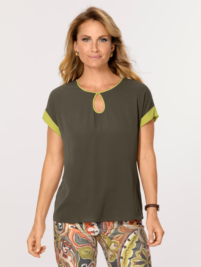 MONA Pull-on blouse with a cutout detail, Olive/Lime