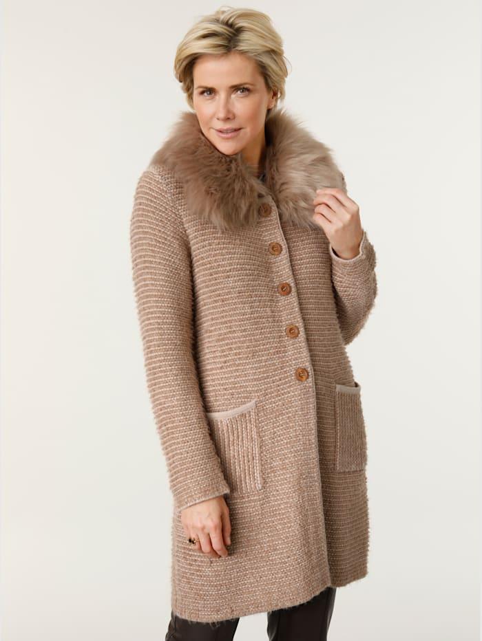 MONA Manteau en maille à dos plus long tendance, Beige